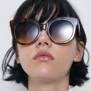 Zara turquoise shell effect acetate sunglasses